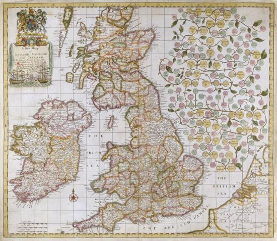 A New Mapp of England, Scotland and Ireland, 1680 Premium Giclee Print by  Robert Morden | Art com