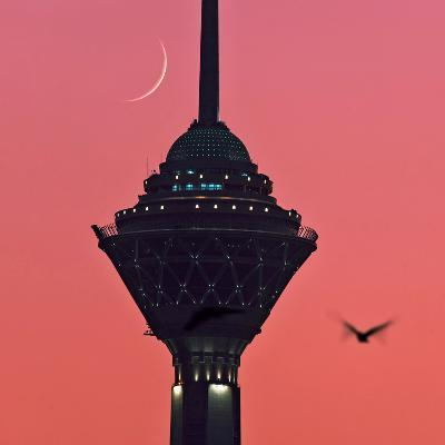 A New Moon Above the Milad Telecommunication Tower-Babak Tafreshi-Photographic Print