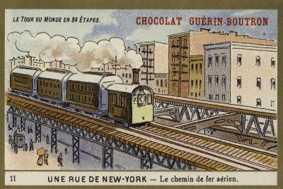 A New York Street - Elevated Railway--Giclee Print