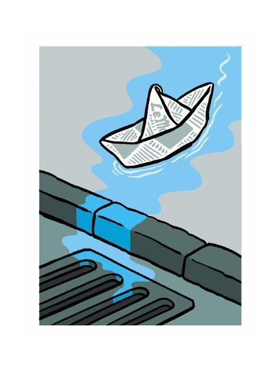 A newspaper floats toward the gutter - Cartoon-Christoph Niemann-Premium Giclee Print