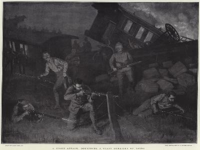 A Night Attack, Defending a Train Derailed by Boers-Frank Dadd-Giclee Print