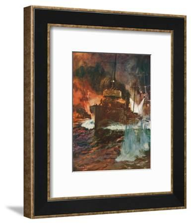 'A Night Attack. Torpedo-Boats at Work', c1918 (1919)-Charles Dixon-Framed Giclee Print
