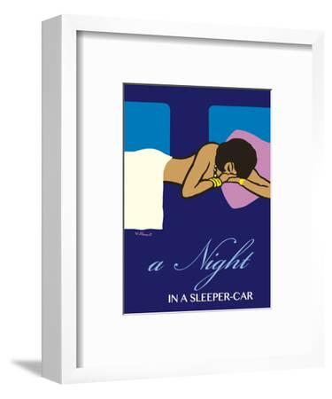 A Night in a Sleeper Car Train - French National Railways SNCF-Bernard Villemot-Framed Art Print