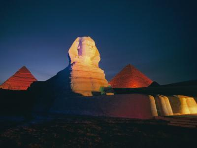 A Night View of the Great Sphinx and the Pyramids of Giza-Richard Nowitz-Photographic Print