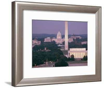 A Night View of the Lincoln Memorial, Washington Monument, and Capitol Building-Richard Nowitz-Framed Photographic Print