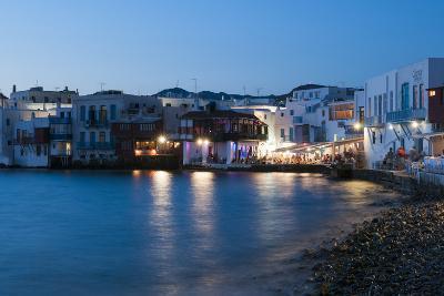 A Night View of the Little Venice Neighborhood on the Coast of the Aegean Sea-Sergio Pitamitz-Photographic Print