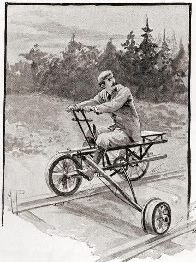 A Nineteenth Century Three Wheeled Velocipede on a Railroad Track. from the Strand Magazine,…--Giclee Print
