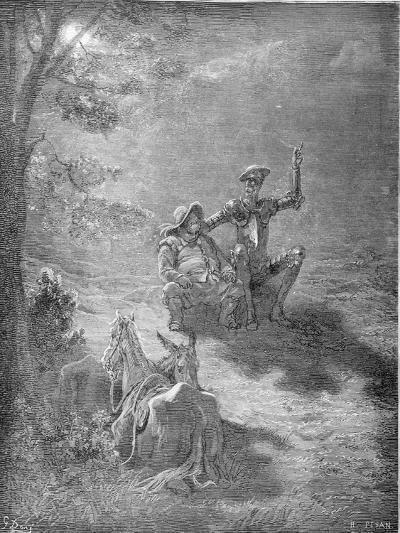 A Nocturnal Discourse, from 'Don Quixote De La Mancha' by Miguel Cervantes (1547-1616) Engraved…-Gustave Dor?-Giclee Print