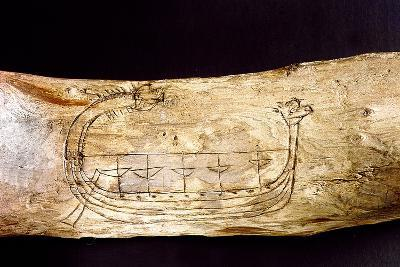 A Norse Ship Incised on a Piece of Wood--Giclee Print