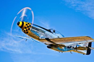 A North American P-51D Mustang in Flight Near Chino, California--Photographic Print