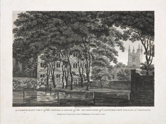 A North East View of the Tower and Lodge of the Archbishop of Canterbury's Palace at Croydon, 1808- Pouncy-Giclee Print