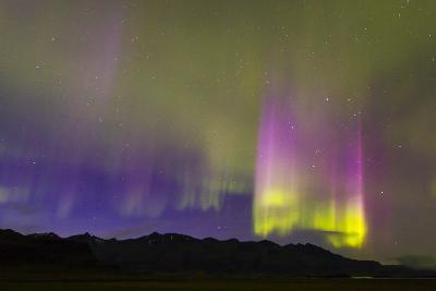 A Northern Lights Display with Strong Light Pillars During a Geomagnetic Solar Storm-Mike Theiss-Photographic Print