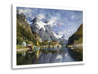 A Norwegian Fjord Painting by Adelsteen Normann--Metal Print