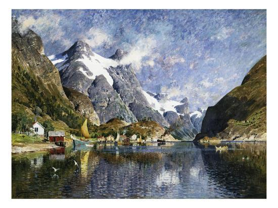 A Norwegian Fjord Painting by Adelsteen Normann--Giclee Print