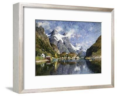 A Norwegian Fjord Painting by Adelsteen Normann--Framed Giclee Print