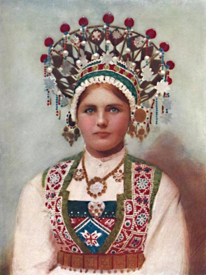 A Norwegian girl in bridal dress, 1912-Unknown-Giclee Print