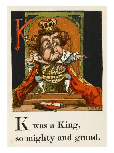 A Not Very Jolly King on His Throne in All His Regalia--Giclee Print