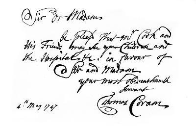 A Note from Thomas Coram, the Founder of the 'Foundling Hospital, 1747-Thomas Coram-Giclee Print