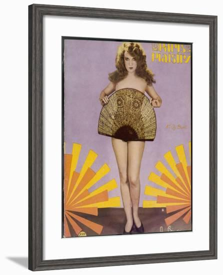 A Nude Woman Conceals Herself Behind a Suggestively-Designed Fan--Framed Photographic Print