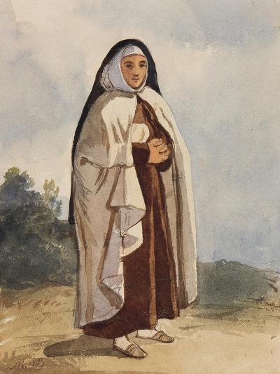 A Nun, with Additions by Princess Maria Annunziata Di Borbone (1843-1871)-Giacinto Gigante-Giclee Print