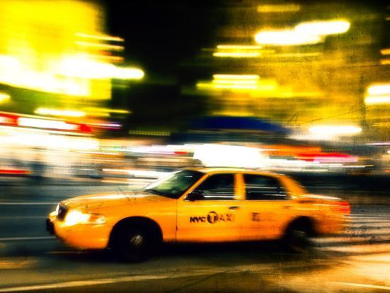 A NY Taxi Cab Rushes By-Jorge Fajl-Photographic Print