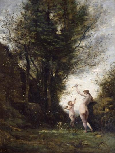 A Nymph Playing with Cupid, 1857-Jean-Baptiste-Camille Corot-Giclee Print