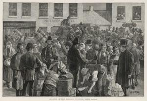 Irish Emigrants Preparing to Sail to America from Clifden County Galway by A. O'kelly