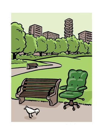 Magnificent A Office Chair Sits In The Park Cartoon Premium Giclee Print By Christoph Niemann Art Com Andrewgaddart Wooden Chair Designs For Living Room Andrewgaddartcom