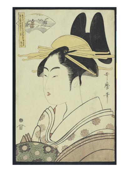 A Okubi-E Portrait of a Courtesan Representing the Hagi or Noki River-Kitagawa Utamaro-Giclee Print