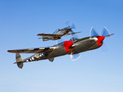 A P-38 Lightning and P-51D Mustang in Flight-Stocktrek Images-Photographic Print