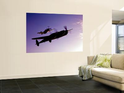 A P-38 Lightning and P-51D Mustang in Flight-Stocktrek Images-Wall Mural