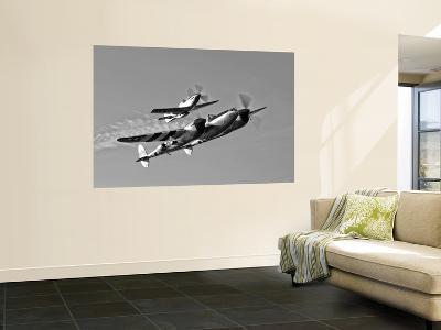 A P-38 Lightning and P-51D Mustang in Flight-Stocktrek Images-Wall Mural