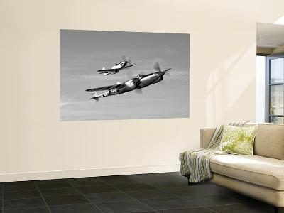 A P-38 Lightning and P-51D Mustang in Flight-Stocktrek Images-Giant Art Print