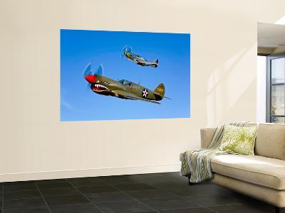 A P-40E Warhawk and a P-51D Mustang Kimberly Kaye in Flight-Stocktrek Images-Wall Mural