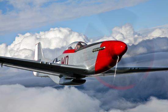 A P-51D Mustang in Flight Near Hollister, California--Photographic Print