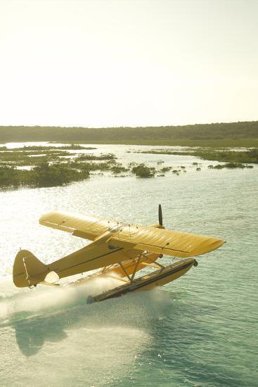 A PA18 Super Cub Floatplane at Conception Island-Jad Davenport-Photographic Print