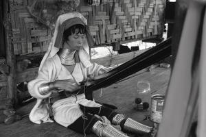 A Padaung Woman Weaving