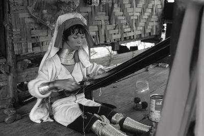 A Padaung Woman Weaving--Photographic Print