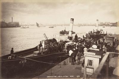 A Paddle Steamer Disembarking Passengers at Greenwich Pier, London, C1890--Photographic Print