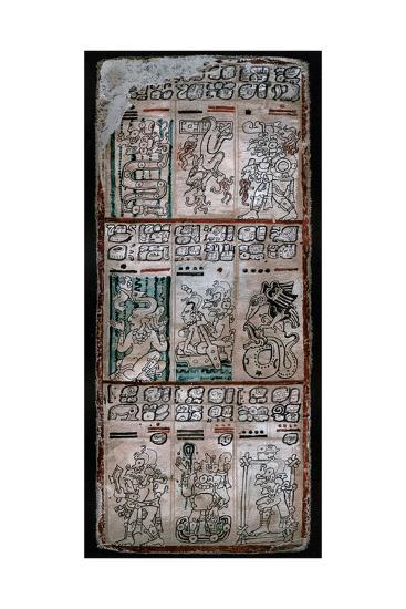 A Page from the Dresden Codex, Maya Manuscript, 1901--Giclee Print