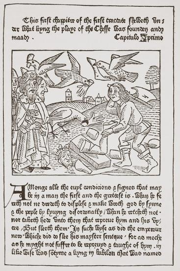 A Page from 'The Game of the Chesse' Printed by Caxton in 1480--Giclee Print