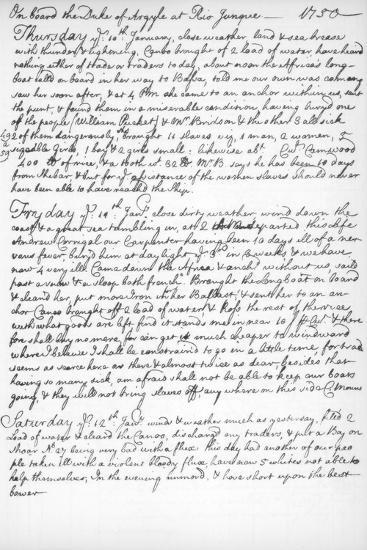 A Page from the Journal of John Newton, 1750-1754--Giclee Print