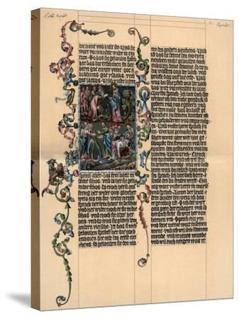 A Page from the Wenzel Bible, C1400--Stretched Canvas Print