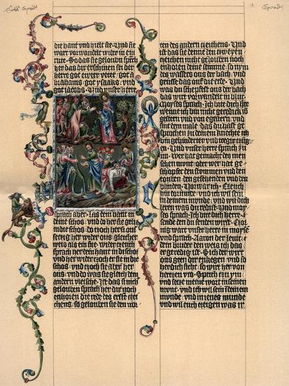 A Page from the Wenzel Bible, C1400--Giclee Print