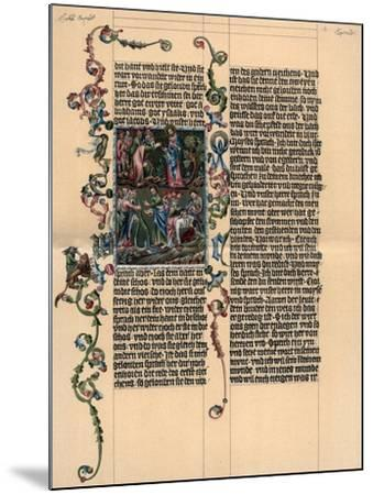 A Page from the Wenzel Bible, C1400--Mounted Giclee Print