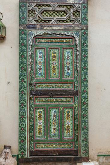 A Painted Door in Le Jardin Des Biehn, a Riad or Small Hotel in the Medina of Fez-Richard Nowitz-Photographic Print