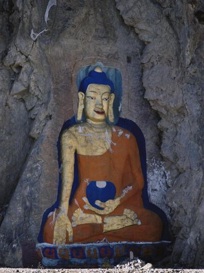 A Painted Stone Buddha Near Lhasa, Tibet-Gordon Wiltsie-Photographic Print