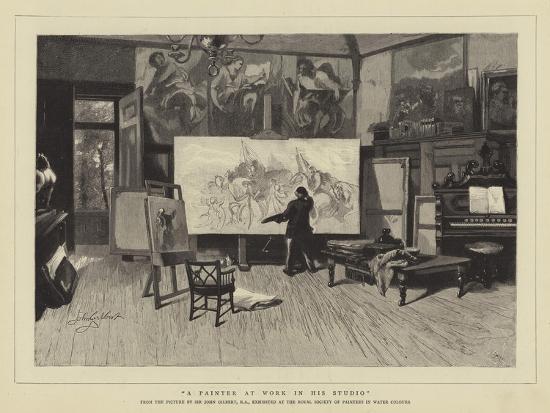 A Painter at Work in His Studio-Sir John Gilbert-Giclee Print
