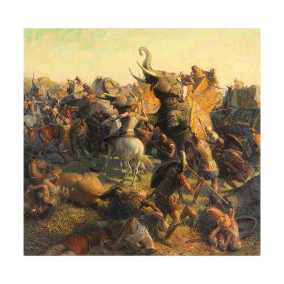 A Painting Depicts Alexander the Great Battling an Indian Army-Tom Lovell-Giclee Print