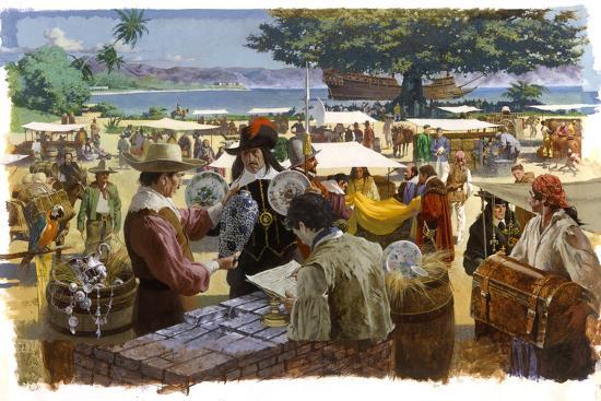 A Painting Depicts Spanish Traders in Acapulco, Mexico-Robert Mcginnis-Giclee Print